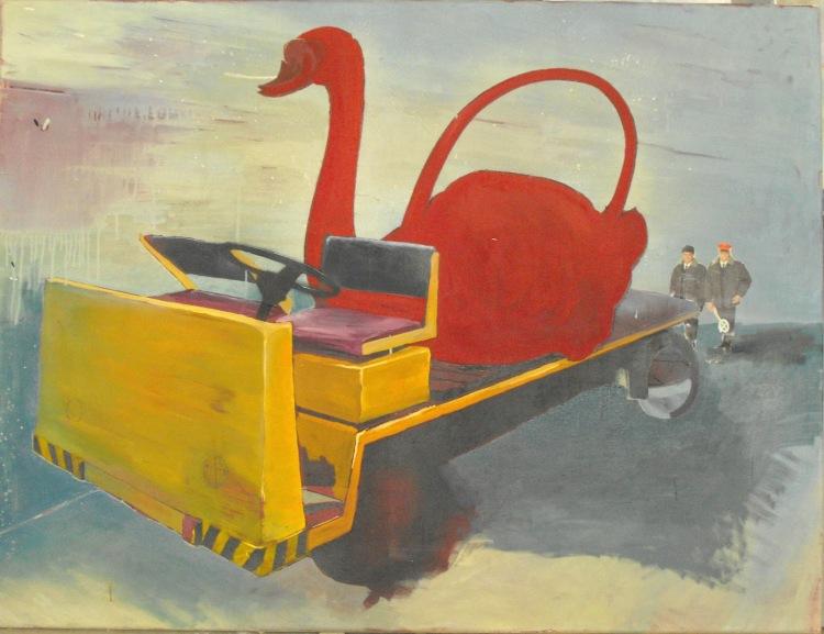 3. Páni železničáři mi přivezly Labutí konvičku (Koláž, Olej a sprej na plátně, 125x95)