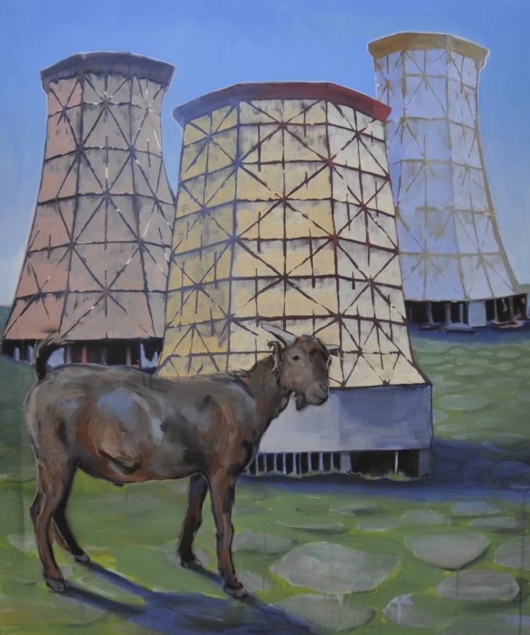 Kozel a chaldící věže, 120x100, akryl a sprej na plátně